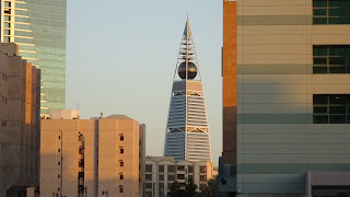 At sunset the buildings in Riyadh are sparkling