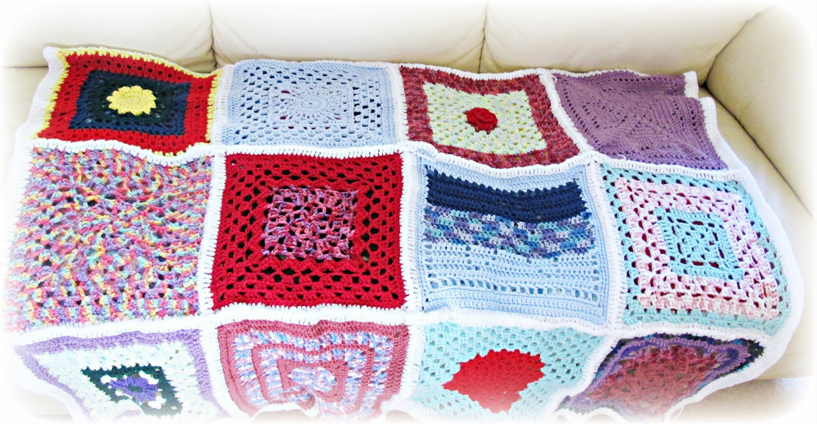 image crochet blanket afghan rainbow twelve inch square two cheeky monkeys