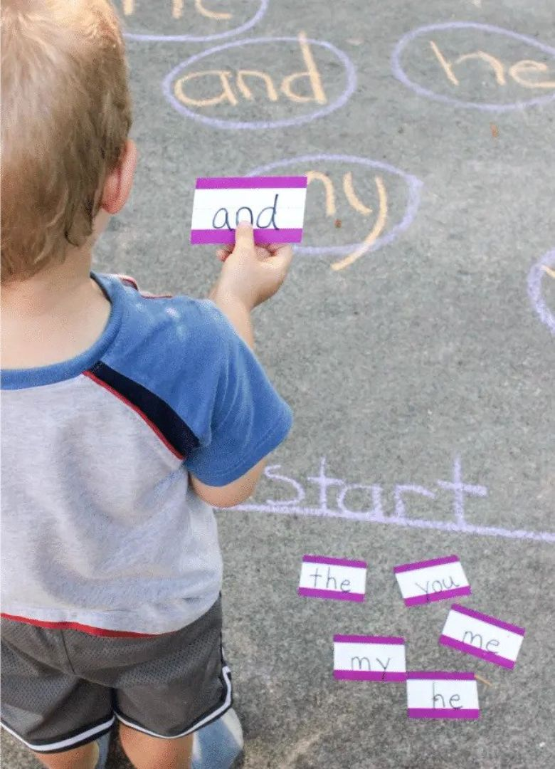chalk sight words sidewalk chalk ideas