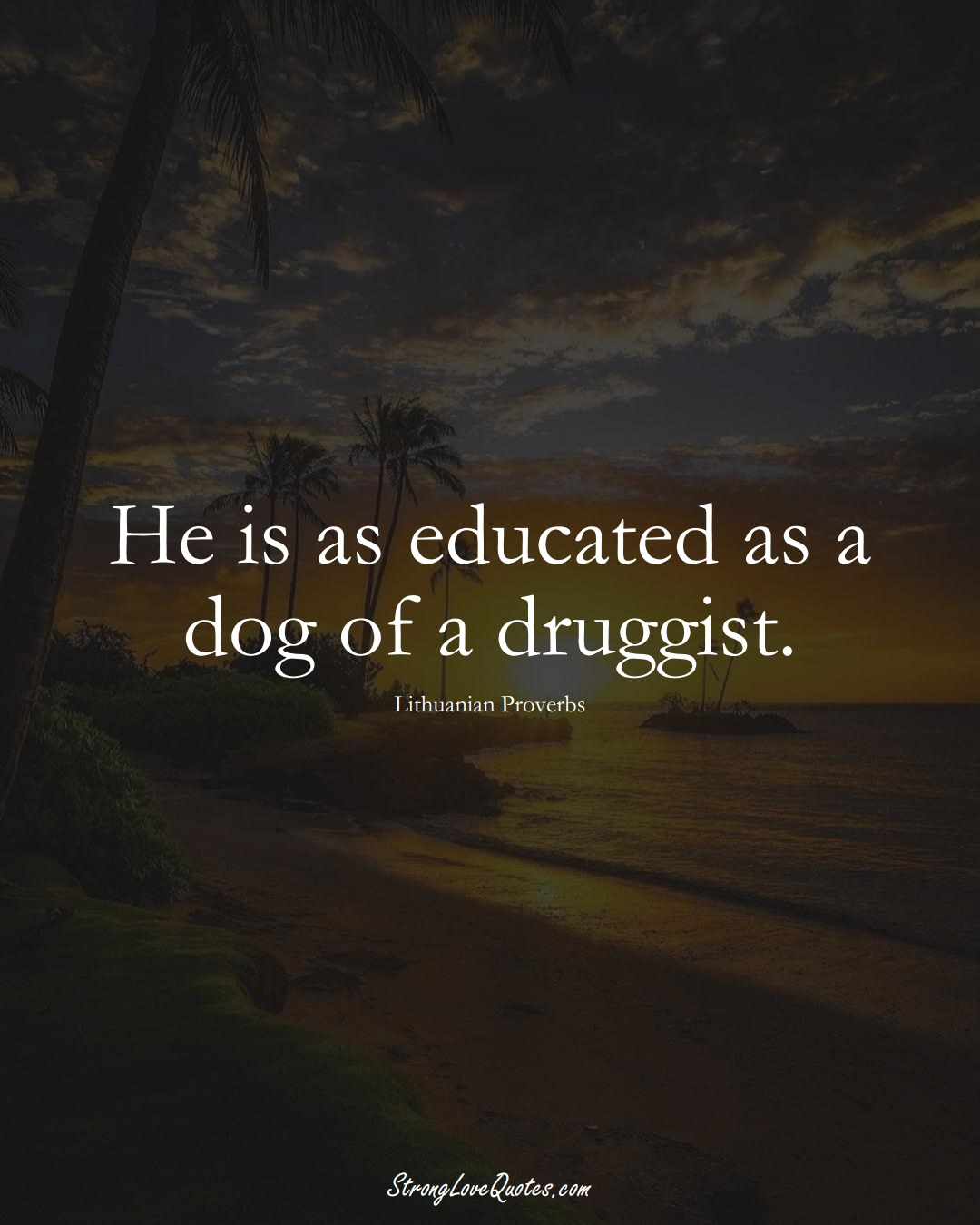 He is as educated as a dog of a druggist. (Lithuanian Sayings);  #AsianSayings