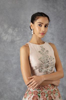 Manish Malhotra Old Rose Raw silk lehenga