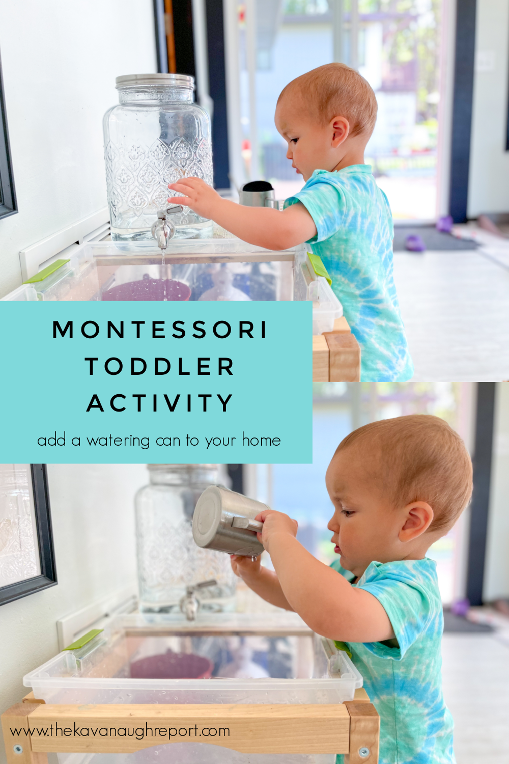 Adding a tiny watering can to your home is a fun and easy Montessori toddler activity.