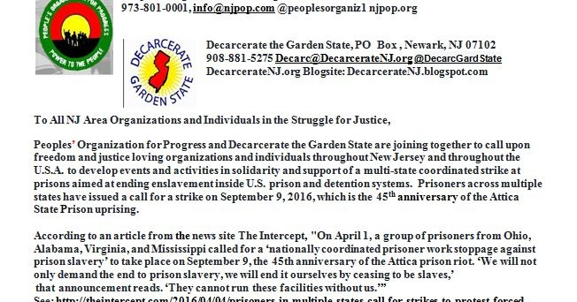 Decarcerate The Garden State Pop Decarcerate The Garden State Letter Calling For Nj Sept 9