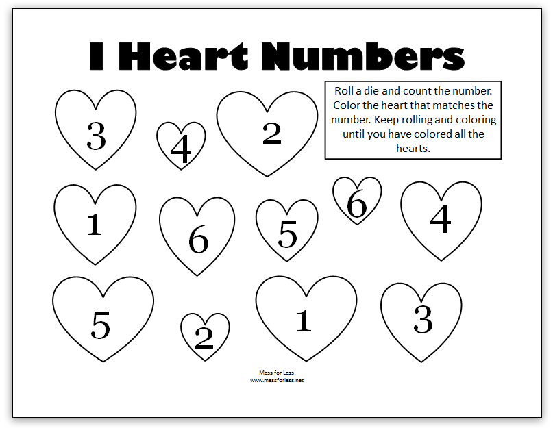 Valentine\'s Math - Kindergarten Worksheets - Mess for Less