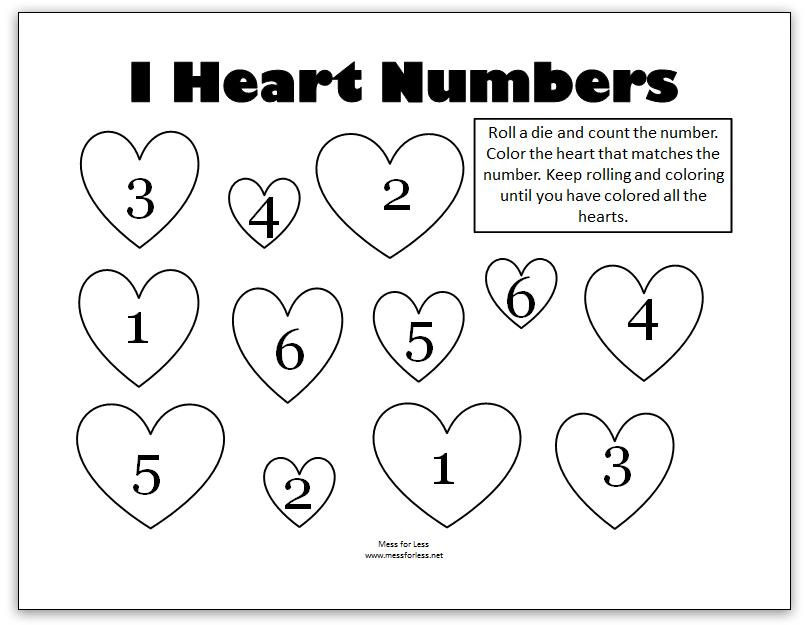 Valentine's Math - Kindergarten Worksheets - Mess for Less