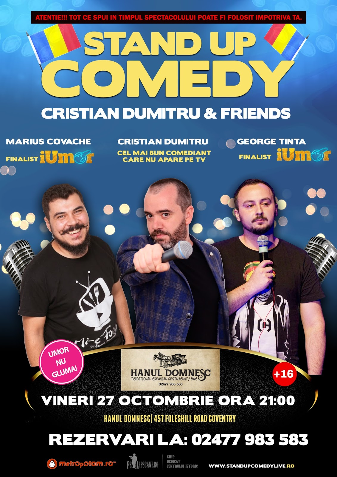 Stand-Up Comedy Vineri 27 Octombrie Coventri Anglia