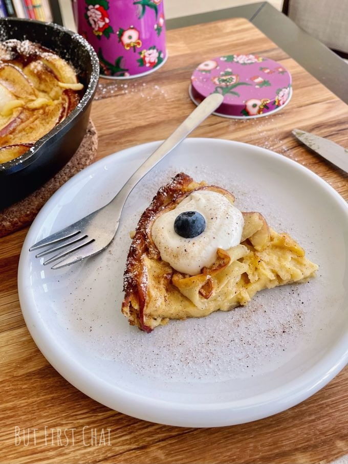 Dutch baby with apples served with some labneh and blueberry