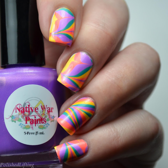 oddball neon water marble nail art
