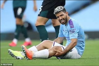 Injured Sergio Aguero flies to Portugal for Man City quarter-final