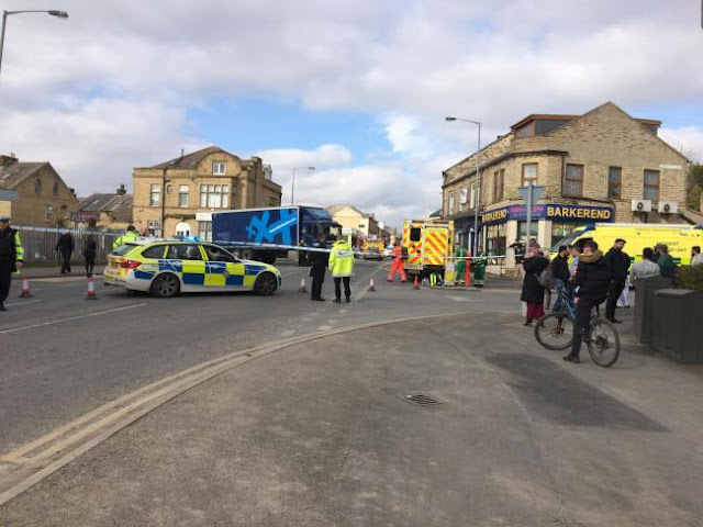 VIDEO: Otley Road in Bradford closed after reports of man trapped under lorry