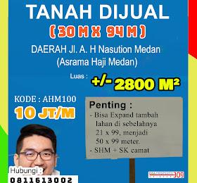 Jual cepat tanah luas di jl ah nasution atau asrama haji medan <del>Rp 13 Jt /Mtr  </del> <price>Rp. 10 Jt /Meter ( Nego)</price> <code>tanahasramahajimedan</code>