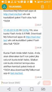 SMS Notifikasi dari Telkomsel