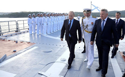 Vladimir Putin with Governor of the Khabarovsk Region Vyacheslav Shport while touring the new Project 20380 corvette Sovershenny.