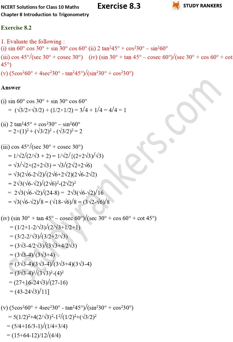 NCERT Solutions for Class 10 Maths Chapter 8 Introduction To Trigonometry Exercise 8.2 Part 1