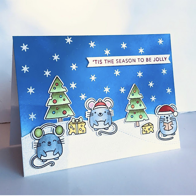 Sunny Studio Stamps: Merry Mice Customer Christmas Themed Card by Lynn Hayes