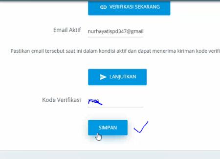 Simpan kode verifikasi