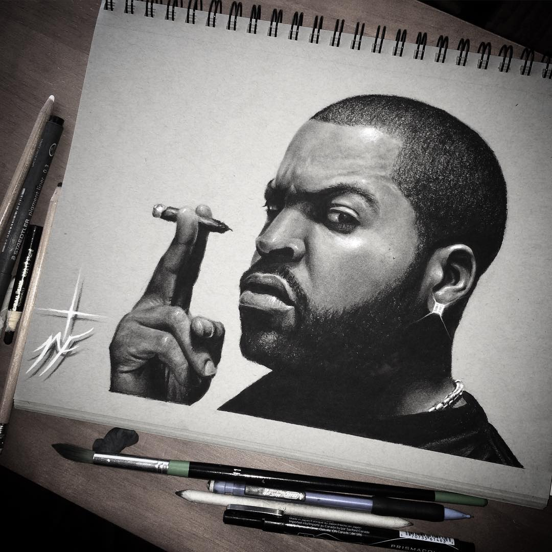 09-Icecube-Natasha-Farnsworth-Drawings-and-Paintings-Celebrity-Portraits-www-designstack-co