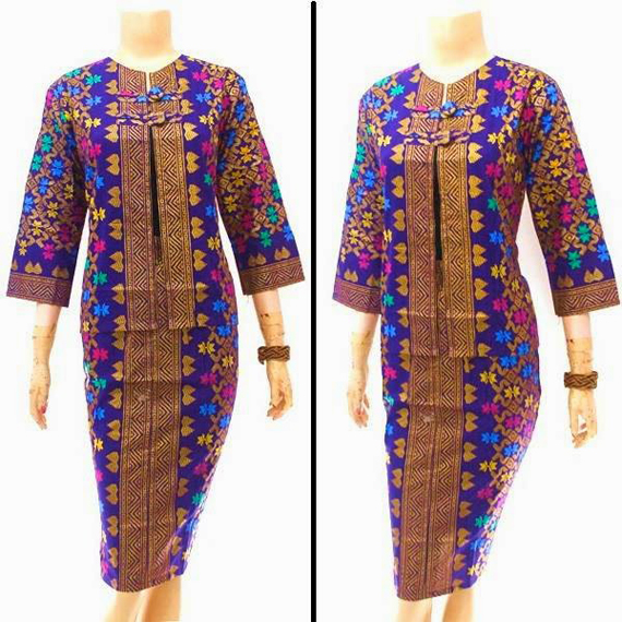 Model Variasi Dress Batik Panjang Kerja Modern Fashion Terkini