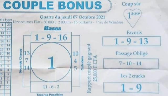 Pronostic quinté jeudi Paris-Turf TV-100 % 07/10/2021