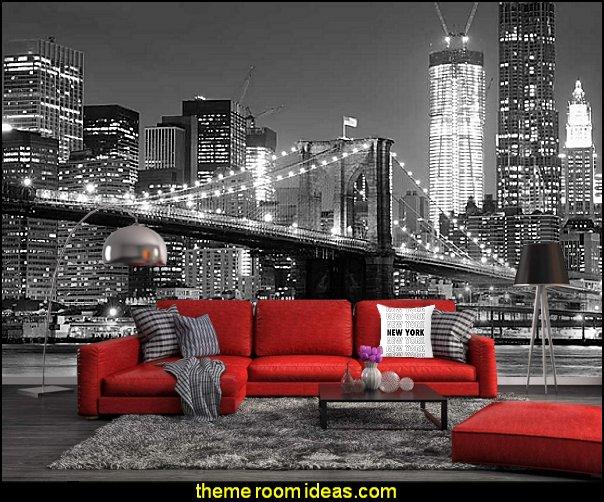 New York Bedroom Decor, new york wall decor  new york wallpaper mural new york style decorating