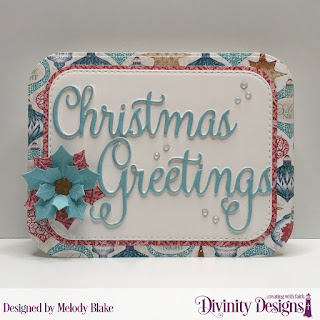 Custom Dies: Christmas Greetings, Double Stitched Rounded Rectangles, Peaceful Poinsettias, Rounded Rectangles, Paper Collection: Christmas 2014