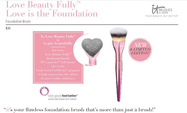 Love Beauty Fully Love is the Foundation Brush, by ITcosmetics for breast cancer by barbies beauty bits