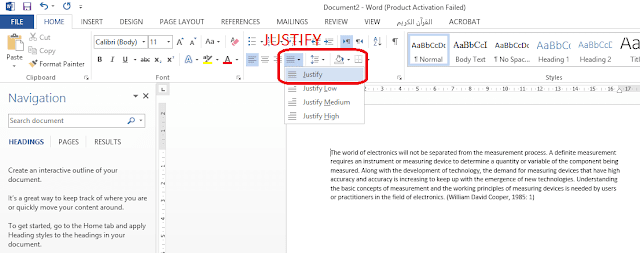 justify aligment in word