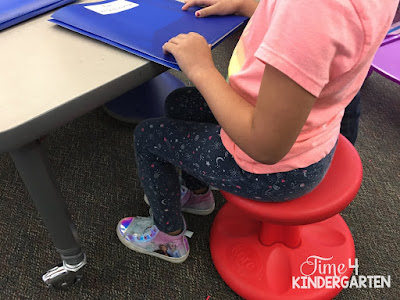 lowered table and wobble stool for flexible seating in kindergarten
