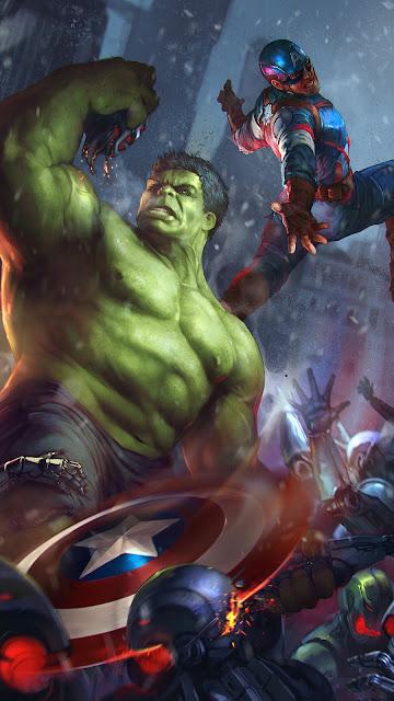Hulk and Captain America The avengers phone wallpaper