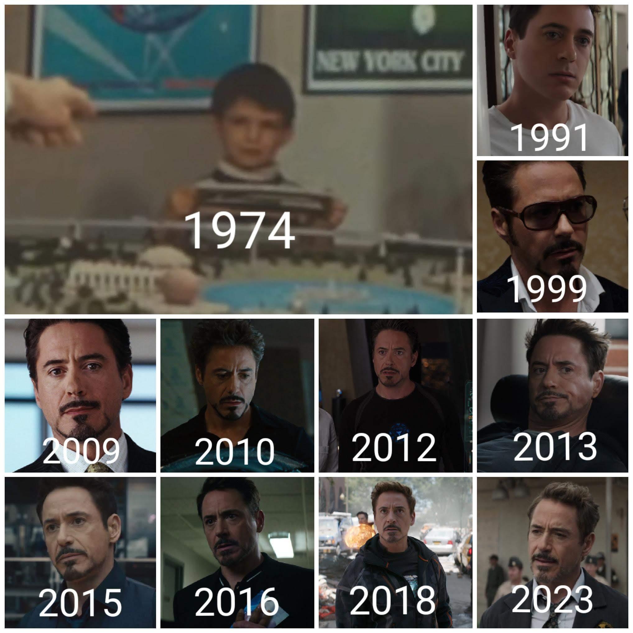 The Evolution of Tony Stark : アイアンマンのトニー・スタークの1974年から没年の2023年にかけての約半世紀の生涯の移り変わりをまとめた写真 ! !
