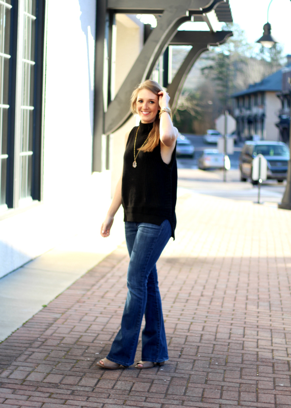 black sleeveless turtleneck winter fashion