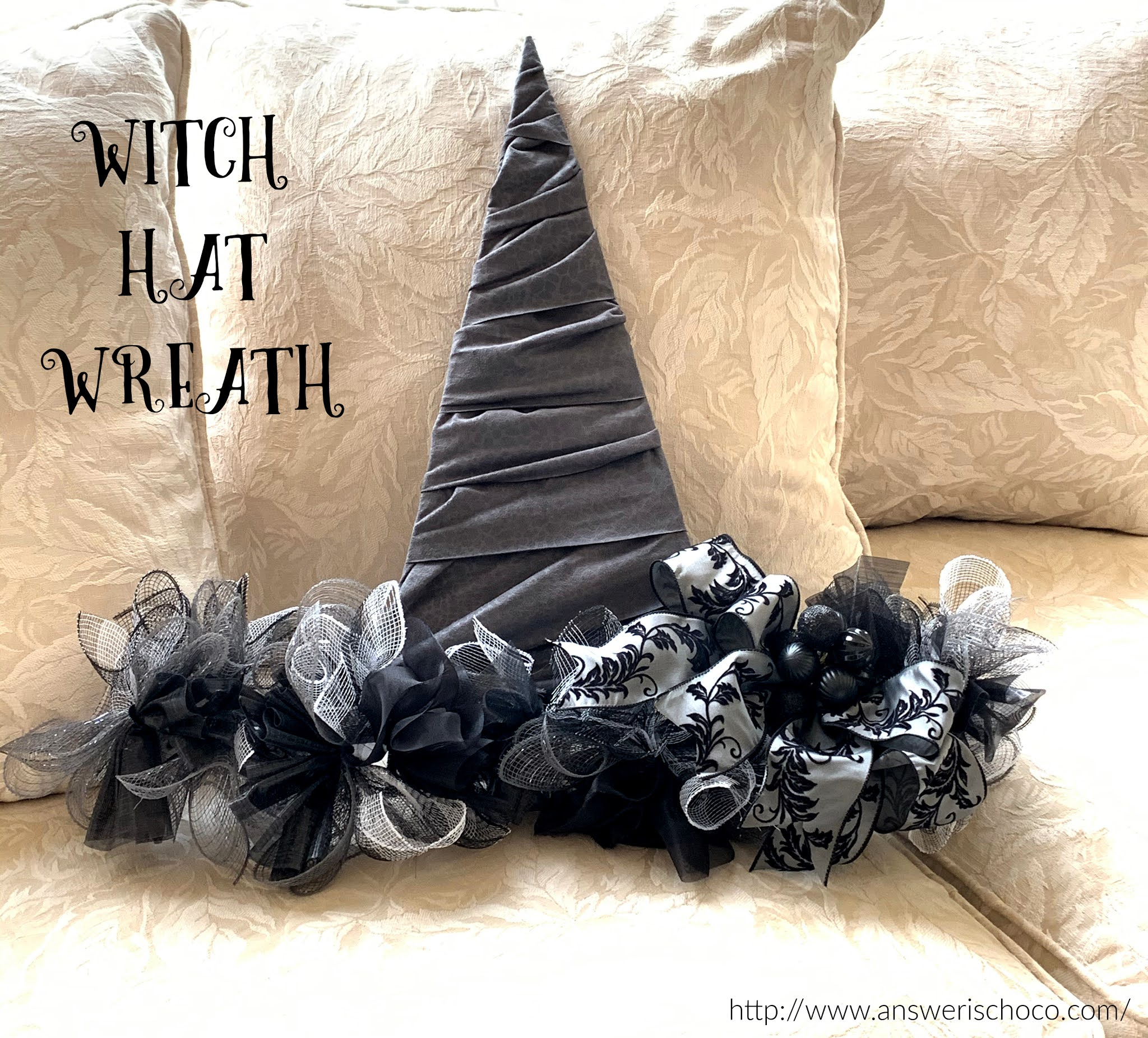 Halloween 2020 Photo Frame With Bow The Answer Is Chocolate: Halloween Decor: Witch Hat Frame Wreath