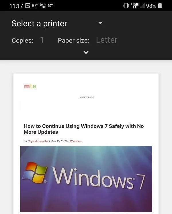كيفية الطباعة إلى Pdf من Chrome على Android حدد الطابعة