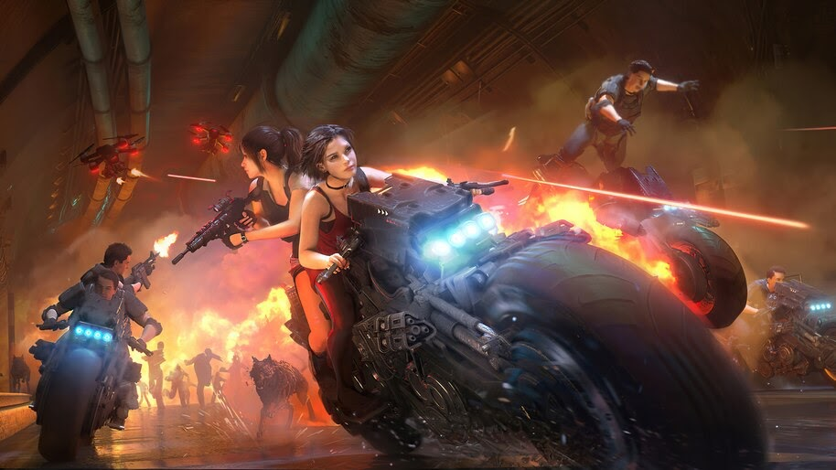 Ada Wong, Claire Redfield, Motorcycle, Resident Evil 2 Remake, 4K, #3.2787