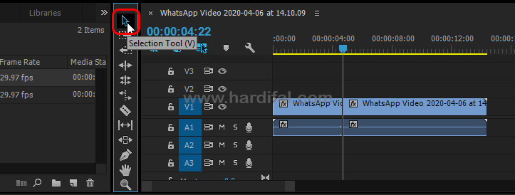 Selection tool untuk menyusun video