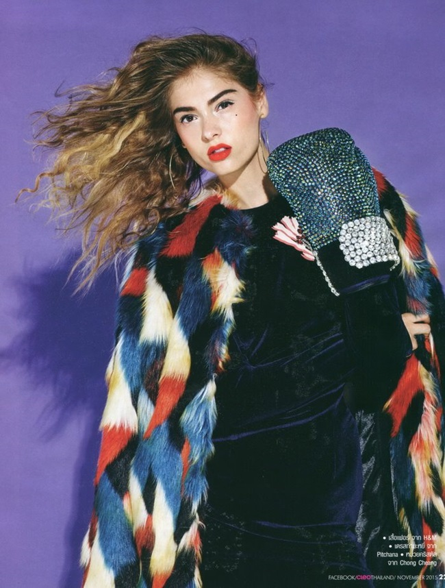 H&M 2015 Winter Colorful Faux Fur Coat Editorials