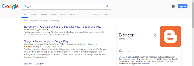 Blogger search on google