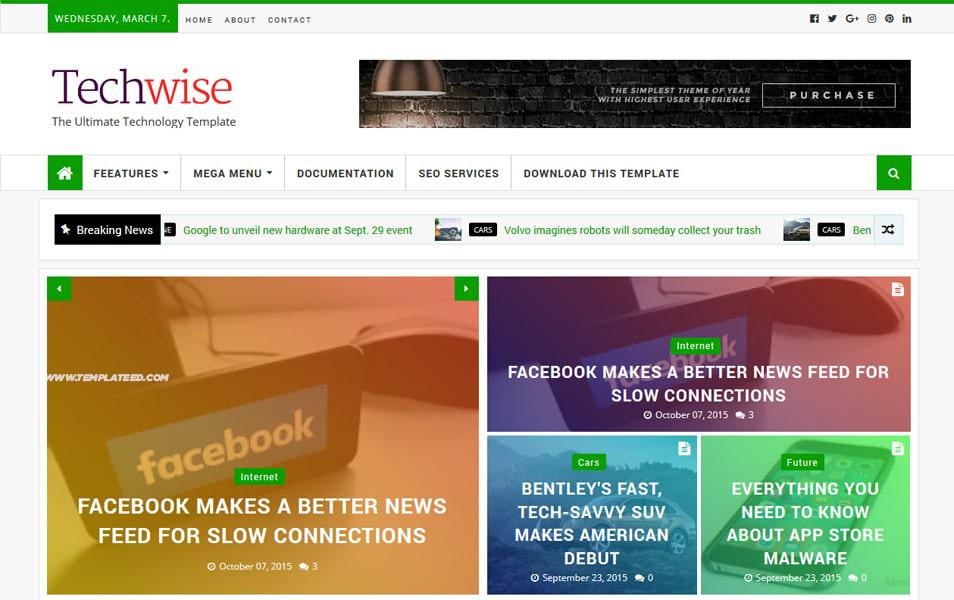 Techwise Magazine Blogger Template