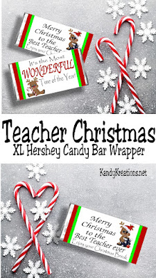 Give your favorite teacher a great Christmas gift with this printable candy bar wrapper.  He or she will love 7 ounces of yummy Hershey chocolate, 2 weeks of Christmas vacation, and this great teacher gift.