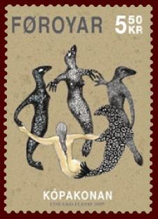 Briefmarke mit tanzenden Seehunden und Seehundfrau