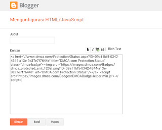 Cara Daftar Dan Memasang DCMA Di Blogger Dengan Mudah