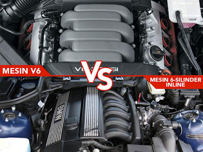 Tampilan Mesin 6-silinder V6 (Atas) dan I6 (Bawah)