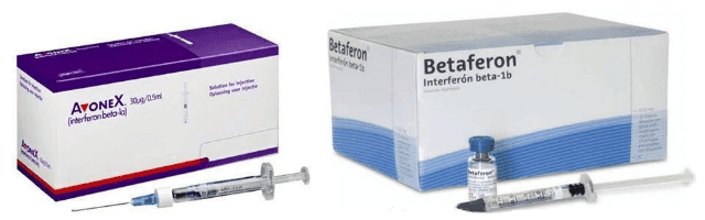 Embalagens do Avonex e do Betaferon, marcas Interferon beta