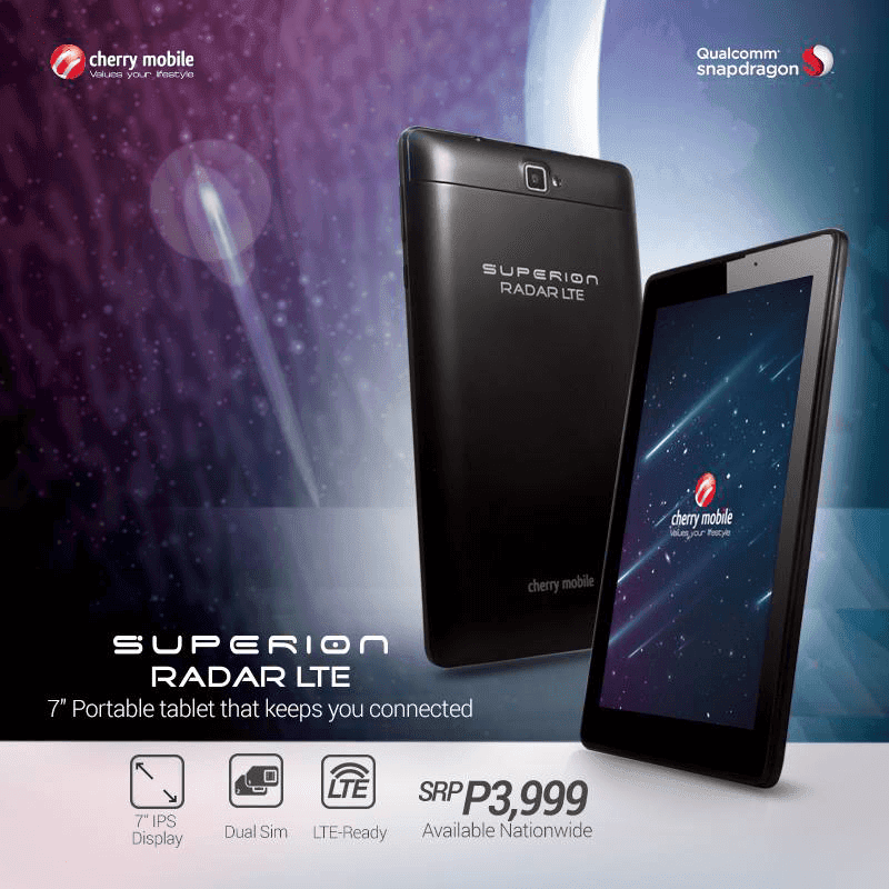 Cherry Mobile Superion Radar LTE Now Official Too! The Most Affordable LTE Tab in Town For 3999 Pesos!