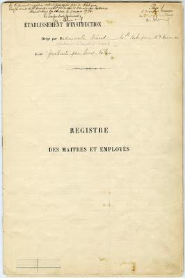 Registre Matricule de l'école de filles des Gautherets, photographie 1  (collection musée-cliché D. Busseuil)