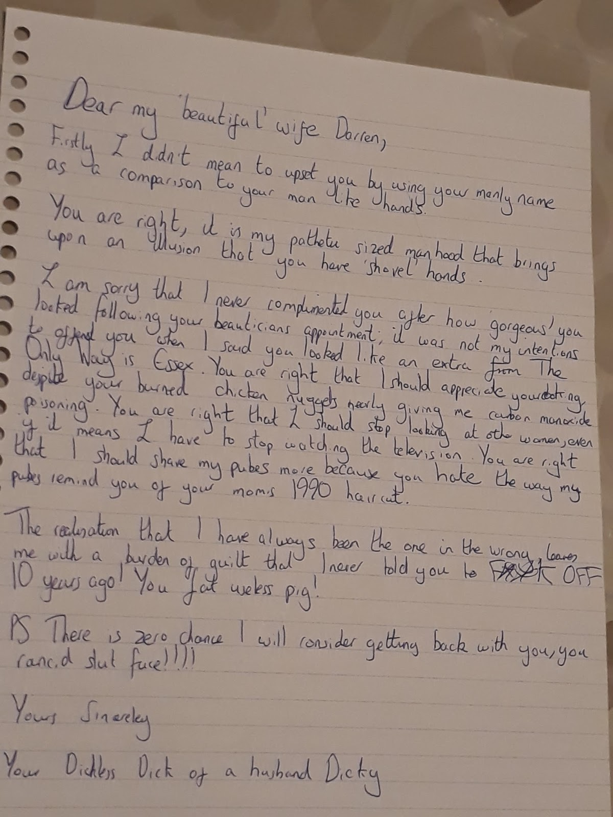 Is this the best apology letter to a wife you have ever seen?
