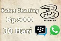Dial paket chat kartu Tri 5000 sebulan