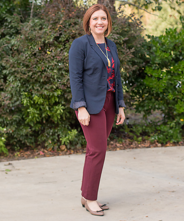 what to wear to work. navy blazer and marsala ankle pants with floral top