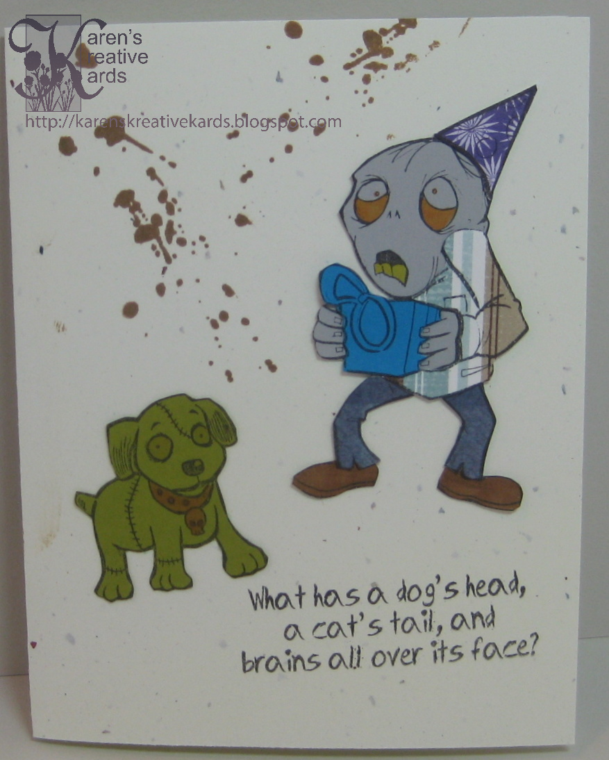 Karens kreative kards zombie birthday card for a special grandson my grandsons birthday is coming up and i think he will get a kick out of the zombie card i made for him i used new stamps from art gone wild and bookmarktalkfo Images