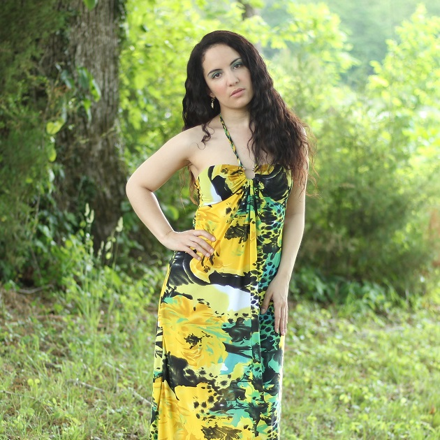 Green and Yellow Print Maxi Dress